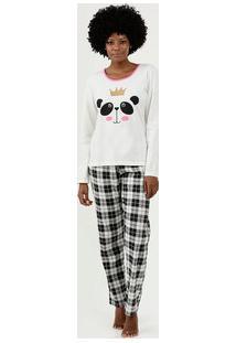 Pijama Feminino Panda Manga Longa Demillus