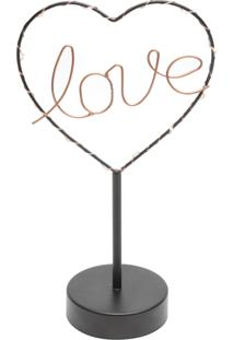 Luminária Mesa Metal Love Heart Com Led Preto 16.5X9.5X29.5Cm