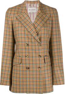Etro Double-Breasted Check Print Blazer - Amarelo