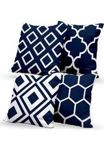 Kit 4 Capas De Almofadas Decorativas Own Geométricas Azul 45X45 - Somente Capa