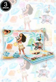 Jogo De Cama 3Pçs Solteiro Santista Infantil Disney Moana Azul