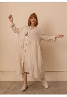 Vestido Chemise Alícia Plus Size Bege-Gg Bege