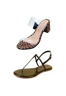 Kit Sandália Tamanco Salto E Rasteira Mercedita Shoes Cristal Com Onça E Verniz Verde Militar