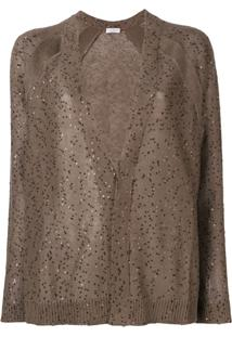 Brunello Cucinelli Sheer Cardigan With Sequins - Marrom
