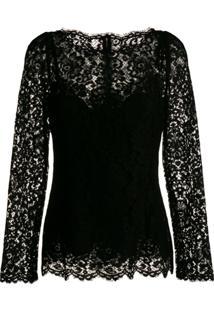 Dolce & Gabbana Blusa De Renda Mangas Longas - Preto