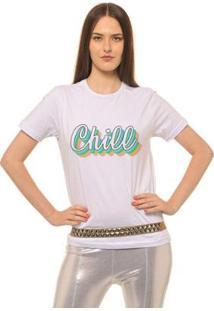 Camiseta Joss Estampada Chill Feminina - Feminino-Branco