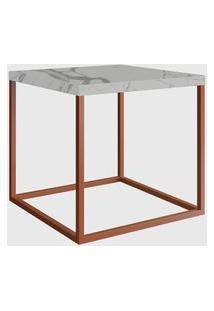 Mesa Quadrada Cube M Thassos/Cobre Industrial Artesano