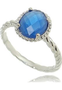 Anel Lua Mia Joias Cordinha E Pedra Oval Azul Royal Noronha Banho Ródio