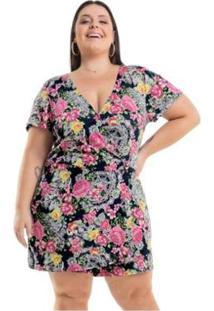 Macaquinho Viscolycra Floral Miss Masy Plus Size - Feminino-Rosa