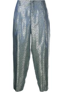 Comme Des Garçons Homme Plus Calça Cropped Metalizada - Azul