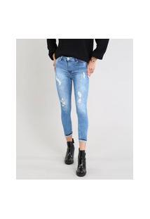 Calça Jeans Feminina Sawary Skinny Com Rasgos Azul Médio