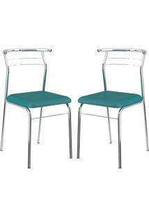 Cadeira 1708 Cromada 02 Unidades Turquesa Carraro