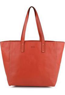 Bolsa Shopping Bag Couro Pesponto Vermelho - Vermelho/Un