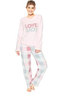 Pijama Any Any Soft Double Love Rosa/Azul