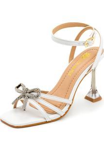 Sandália Salto Taça Cristal Feminina Confort Branco