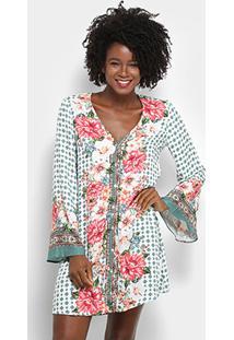 eeb852912 R$ 329,99. Zattini Vestido Farm Curto Reto Manga Longa Estampa Floral  Tunísia - Feminino-Verde