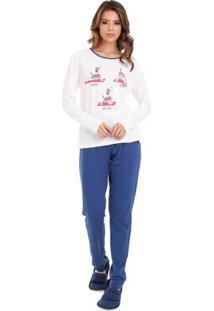 Pijama Feminino De Inverno Cachorrinho Yoga Em Algodão Luna Cuore