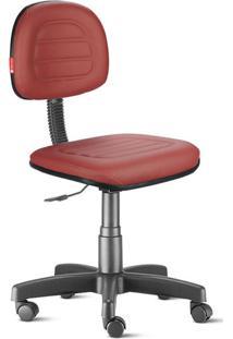 Cadeira Secretária Costura Giratória Courvin Vermelho Escuro