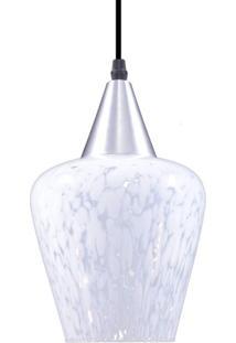 Pendente Oval Para 1 Lâmpada Venezia Liso Transparente E Leitoso E27 Taschibra Transparente