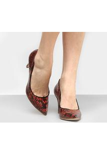 Scarpin Shoestock Snake - Feminino-Caramelo