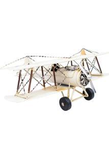 Enfeite Retrô Minas De Presentes Avião Branco - Kanui