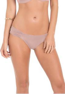 Calcinha Conforto Em Microfibra Drapeada Com Proteção Permanente - Feminino-Rosa