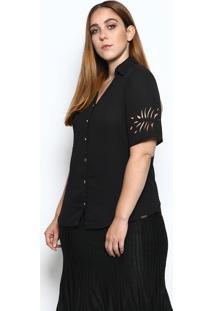 Camisa Com Recortes Vazados- Preta- Mirasulmirasul