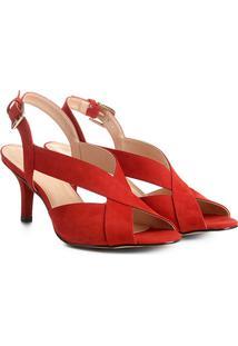 Sandália Couro Shoestock Salto Fino Feminina - Feminino-Laranja Escuro