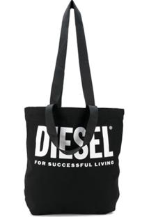 Diesel Logo Print Canvas Shopper Tote - Preto