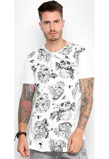 Camiseta Gangster Recorte Long Skull Print Masculina - Masculino