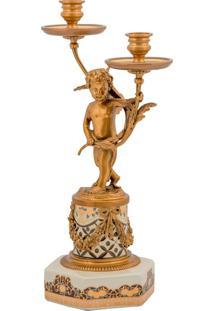 Castiçal De Porcelana E Bronze Angel