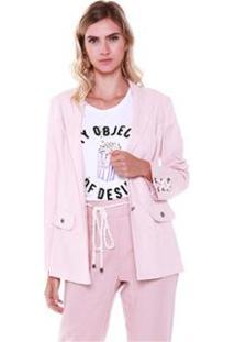 Blazer Studio 21 Fashion Linho Com Cordão Feminino - Feminino-Rosa