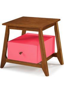 Mesa De Cabeceira Stoka 1 Gaveta Pink Estrutura Amendoa 65Cm - 60910 - Sun House