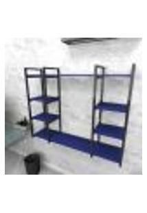 Estante Industrial Escritório Aço Cor Preto 120X30X98Cm (C)X(L)X(A) Cor Mdf Azul Modelo Ind45Azes
