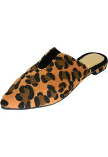 Sapatilha Mule Hope Shoes Bico Fino Com Decote Onça