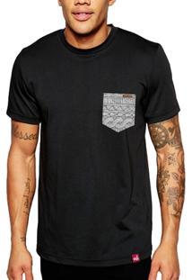 Camiseta Bolso Aplique Geometrico - Masculino