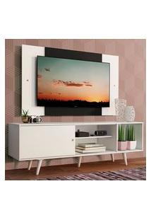 Rack Madesa Dubai Com Pés E Painel Para Tv Até 58 Polegadas - Branco/Preto 09C7 Branco