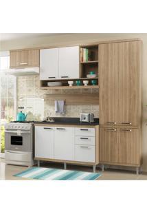 Cozinha Completa Multimóveis Com 6 Peças Sicília 5839 Argila/Branco