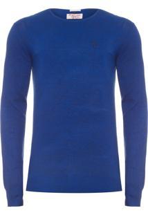 Blusa Masculina Tricot Fechado Mescla - Azul