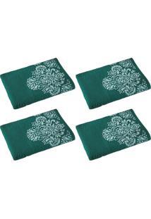 Kit Com 4 Toalhas De Banho Íris Verde