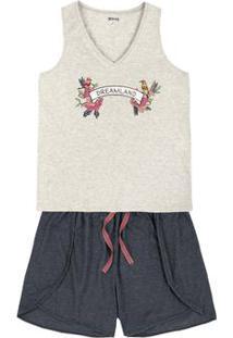 Pijama Feminino Em Malha Com Shorts Em Outros Tamanhos