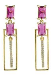 Brinco Barbara Strauss Cristal Rubi Revestido Em Ouro 18K - Feminino-Rosa