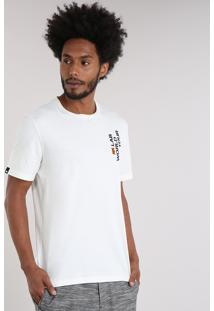 Camiseta Masculina Lab World Tour Manga Curta Gola Careca Off White
