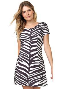 Vestido Lança Perfume Curto Zebra Branco/Preto