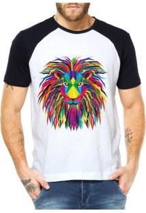 Camiseta Criativa Urbana Leão Psicodélico - Masculino-Branco