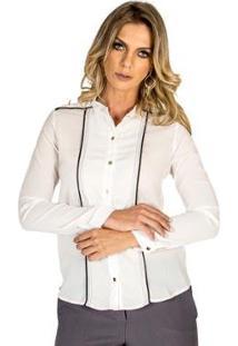 Camisa Com Vivo Realist - Feminino-Branco