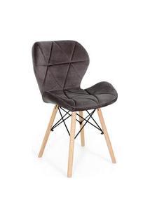 Cadeira Charles Eames Eiffel Slim Veludo Estofada - Grafite