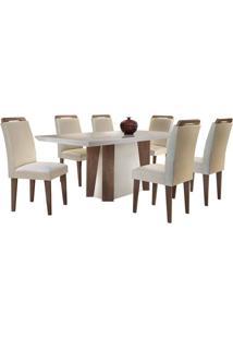 Sala De Jantar Valença 1.80M Com 6 Cadeiras Café/Off White Veludo Creme