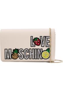 Love Moschino Clutch Com Paetês - Neutro