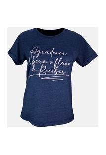 T-Shirt Fluxo De Receber Azul Marinho